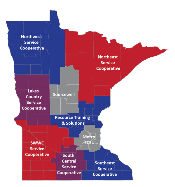 Map of MN Service Cooperatives